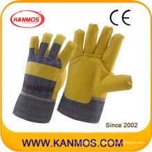 Artificial Leather Stripe Back Pasted Cuf Vinyl Industrial Safety Work Gloves (41014)