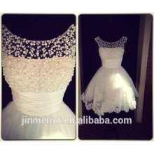 Real Pictures New Style Scooped Neckline Beaded Pearls Lace Short Wedding Dress