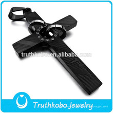 Religieux croyant prière en acier inoxydable noir et or Jésus pierre de naissance personnalisé croix Enhancer pendentif achats en ligne