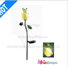 Fashion Glass and Metal Solar Frog Lights Stake