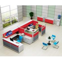 Cubículo de mesa de trabalho vermelho Office 2 Seater com armário superior (HF-YZQ738)
