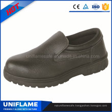 Rubber Sole Work Leather Safety Shoes Without Lace Ufa047