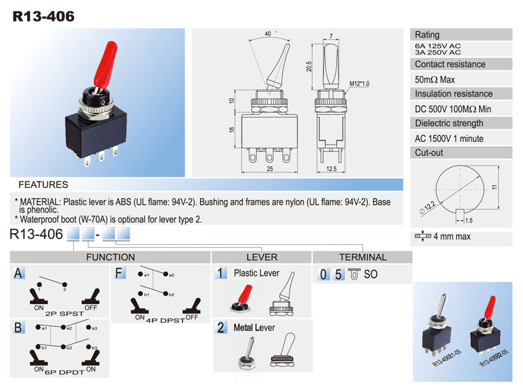 Waterproof Toggle Switches