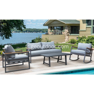 Ensemble de sofa de pivot de jardin de patio 4pcs