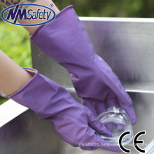NMSAFETY Long sleeve flocking latex glove for housework and kitchen