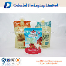 Uso industrial do alimento e do alimento da fruta stand upy descartável doypack da bolsa bebendo com bico