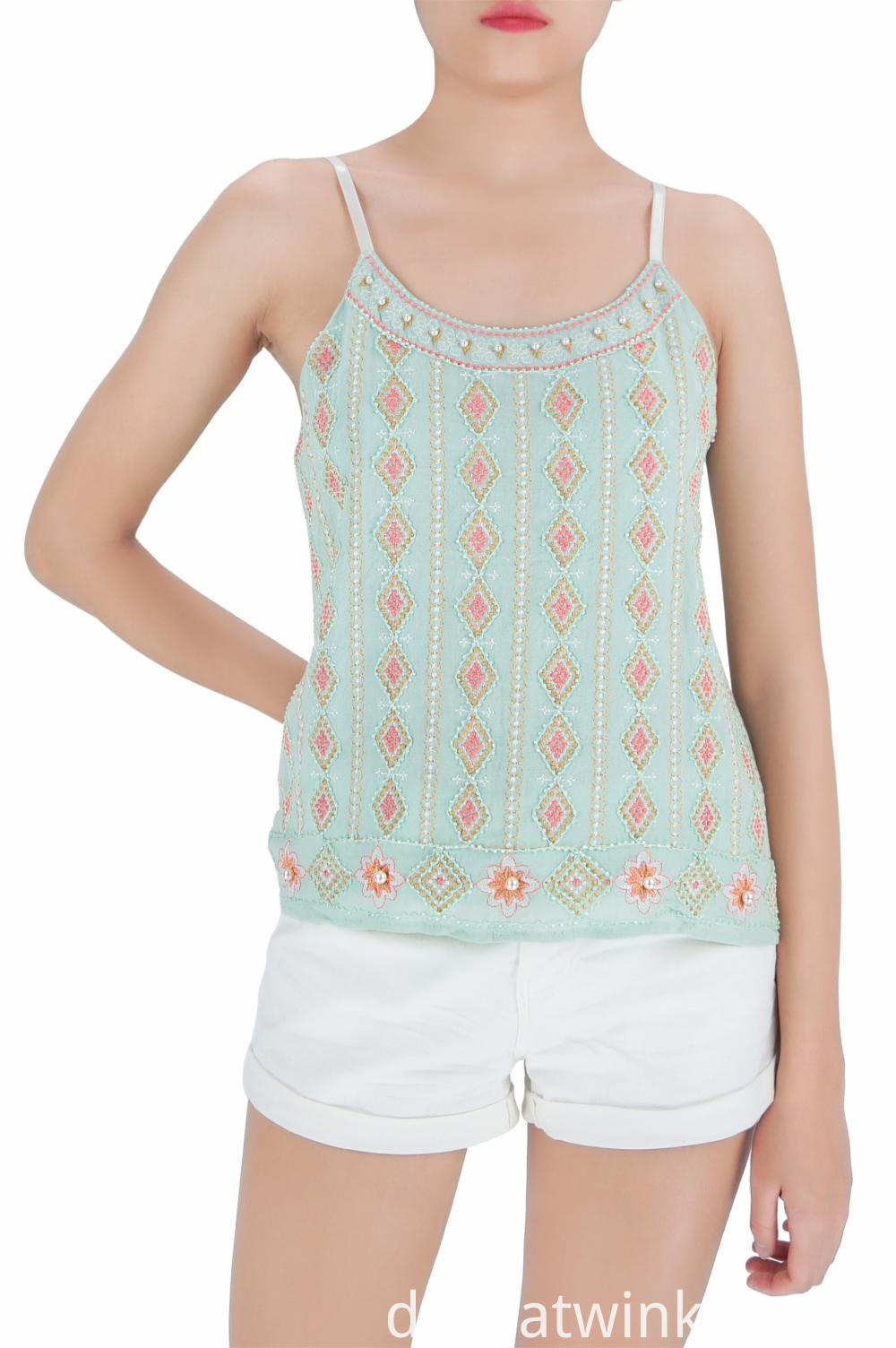 Embroidered Girls Tank Tops