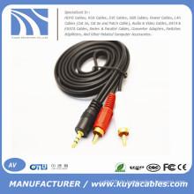 3.5mm zu 2rca Kabel männlich zu Mann für Computer / VCD / DVD / HDTV / MP3