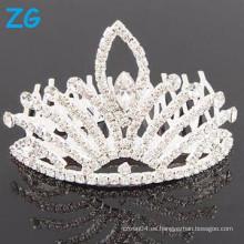 Venta al por mayor cristal tiara corona rhinestone boda tiara peinar clips de pelo para las mujeres