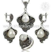 Satisfaction du client pierres précieuses bijoux en argent ensemble 925 en argent sterling perle cz bijoux en gros exportateur