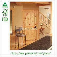 Porte en bois de pin noueux intérieur panneau vertical
