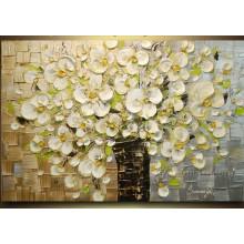 100% handgemachte Blumen-Ölgemälde-Messer-Malerei (KVF-019)