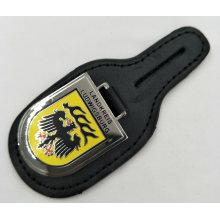 Keyring de couro feito sob encomenda com emblema esmaltado de imitação