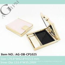 Прямоугольный компактный порошок дело/компактная порошок контейнер с зеркало AG-OB-CP1025, AGPM косметической упаковки, Эмблема цветов