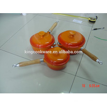 German cast iron enamel milk pot sauce pan/cast iron cookware with wood handle
