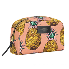 Hot Summer Custom Printed Pink Pineapple Pattern beauty cosmetics makeup bag Waterproof Women canvas toiletry bag
