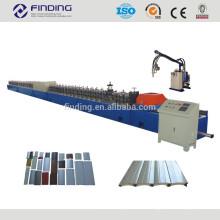 Galvanized metal milling colored steel hydraulic door panels PU foam roll shutter roll forming machine