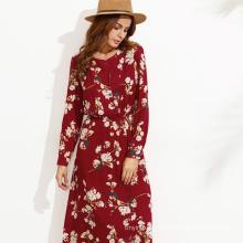 navy long sleeve floral maxi women chiffon maxi dresses