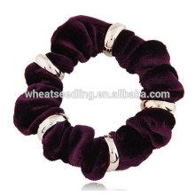 Moda de metal flannelette corda cabelo faixa lisa
