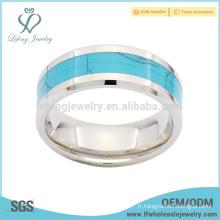 Bandes en argent poli et haute qualité avec anneau en titane turquoise bleu