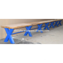 Industrielle Vintage Bar Bank Blue Cross Metal Beine