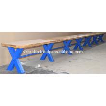 Banco de barra de vintage industrial Blue Cross Metal Legs