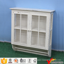 White Wooden Wall Rustic Bathroom Cabinet