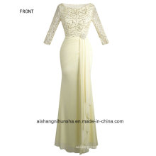 Angel Fashion Half-Sleeved Sequin Long Evening Dress Formal Party