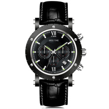 chronograph quartz watch with date frame stainless steel case