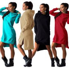 Plus Size Outono Mulher Hoody Moletom com capuz com Split Dress