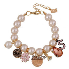 2015 New Style bead pearl bracelet with flower charms for party girls