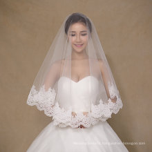 Simple Design One Layer Short Ivory Wedding Veils