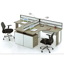 Right triangle design office glass partition with drawer for 2 people