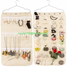 40 Pockets & 20 Hook-and-Loop Tabs Hanging Jewelry Organizer Dual Sided Household Accessory Holder Storage Bag