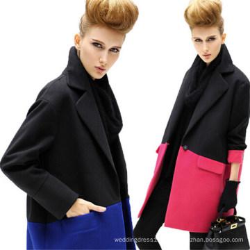 Средний-Длинные Мода Сплайсинга Зубчатый Лацкане Однобортный Пальто Женщин (50013-1)