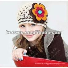 Прекрасные вязания крючком ребенка Цветок Hat Рука трикотажные Baby Flower Hat вязание крючком девочек весна Hat Baby Beanie