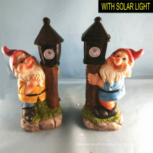 Polyresin Dwarf with Solar Light Decoration for Garden 25CMH