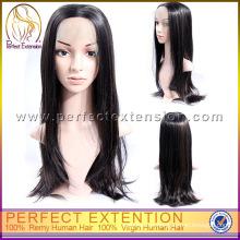 Günstige lange natürliche gerade chinesische Jungfrau Haar Lace Front Perücke