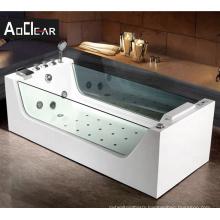 Aokeliya glass front square  freestanding air tub whirlpool massage bathtubs bath tub