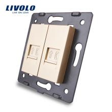 Золотая настенная розетка Livolo Основание телефонной розетки RJ11 / розетка VL-C7-2T-13