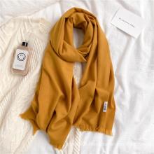 2021 Hot Selling Winter Unisex Solid Color Cashmere Soft Feeling Wraps Scarves Elegant Women Pashmina Shawl Scarf