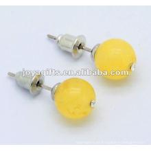 6MM Miel Onyx piedras preciosas studded pendiente