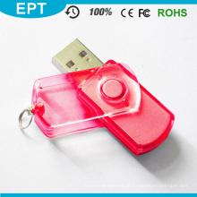 Plástico transparente clássico giratório USB Pendrive (EP078)