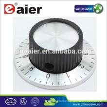 Perilla de control de ventilador nudosa KN-138/138 negra numerada con perilla de interruptor giratorio de falda cromada