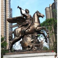 Louis Xiv Sculpture Glass Steel European Horseman Sculpture