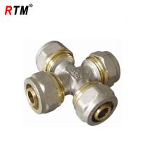 Brass cross compression pex pipe fitting