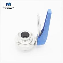 Санитарный клапан-бабочка SUS304 / 316L Tri Tri Clamp ручной с многопозиционной ручкой
