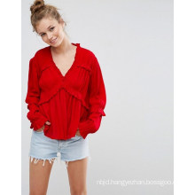 Collarless Ladies Blouse with Long Sleeve Blouse