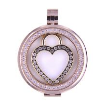 Coffre flottant en forme de coeur pour collier pendentif