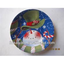 Muñeco de nieve de lujo platos de postre de cerámica al por mayor